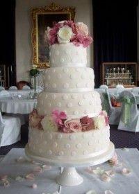 Ivory Polka Dot Wedding Cake by Tartufi Cakes