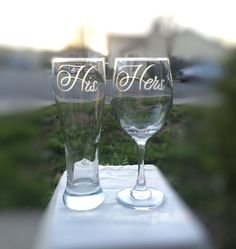 His and Hers Glasses Set of 2 Wedding Toasting Glasses by EVerre