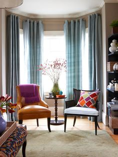 perfection of bay window treatments/morning book reading area