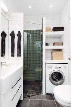 Laundry Bathroom Combo, Small Laundry Rooms, Downstairs Bathroom, Bathroom Closet, Paint Bathroom, Laundry Area, Bathroom Storage, Narrow Bathroom, Master Bathroom