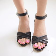 Korea womens shopping mall [styleberry] Wedge heel cross the line See-through look / Size : 230~250 mm / Price : 44.90 USD #wedgeheel #wedge #heel #shoes #korea #fashion #fashionshop #style #styleberry #koreastyle