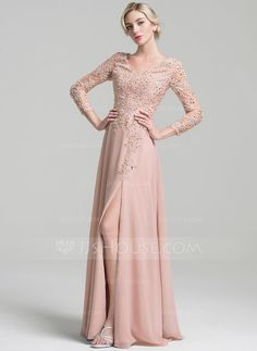 [US$ 206.69] A-Line/Princess V-neck Floor-Length Chiffon Mother of the Bride Dress With Beading Split Front