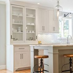 Pennville Custom Cabinetry - kitchens - shaker kitchen, gray kitchen island, nickel cabinet pulls, built in kitchen hutch, kitchen hutch, gl...
