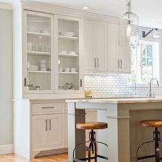 Pennville Custom Cabinetry - kitchens - shaker kitchen, gray kitchen island, nickel cabinet pulls, built in kitchen hutch, kitchen hutch, gl...