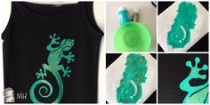 Great DIY Freezer paper stencil tutorial (in Español but great step-by-step pics) Lagartija sobre camiseta