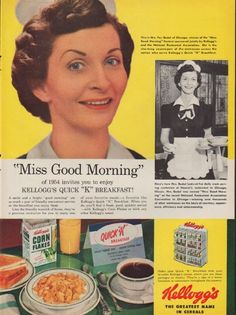 """Description: 1954 KELLOGG'S vintage print advertisement """"Miss Good Morning"""" -- This is Mrs. Fay Badal of Chicago, winner of the """"Miss Good Morning"""" Contest sponsored jointly by Kellogg's and the National Restaurant Association. Kellogg's -- The Greatest Name In Cereals -- Size: The dimensions of the full-page advertisement are approximately 10.5 inches x 14 inches (27 cm x 36 cm). Condition: This original vintage full-page advertisement is in Very Good Condition unless otherwise noted."""