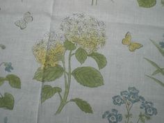 """SANDERSON CRAFT FABRIC REMNANT """"HAREBELL AND VIOLETS"""" LINEN BLEND 62 CM X 145 CM in Crafts, Sewing & Fabric, Fabric 