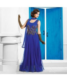 Stitched Blue Color Net Designer Gown. #ohnineone