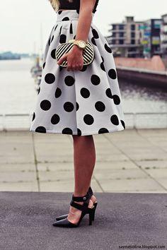 #choies #skirt # fashion White Polka Dot Skater Skirt