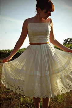 ivory vintage lace dress. All it needs is some lace along the straps...which I've already pinned.