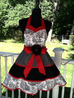 Retro red, white, black toile apron