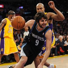 Ricky Rubio looks to cut through the Lakers defense Wednesday night at Staples Center.
