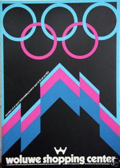 Original Vintage Poster Belgium Art Sport Olympics Expo Neon 1980s Magenta Board