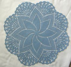 "Hand Crocheted Doily 14-1/2"" round Centerpiece Delft Blue pinwheel NEW"