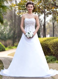 A-Line/Princess Strapless Chapel Train Organza Satin Wedding Dress With Embroidery Beading Sequins (002000390) http://www.dressdepot.com/A-Line-Princess-Strapless-Chapel-Train-Organza-Satin-Wedding-Dress-With-Embroidery-Beading-Sequins-002000390-g390 Wedding Dress Wedding Dresses #WeddingDress #WeddingDresses