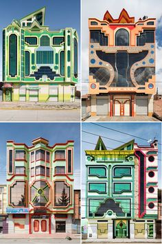 Cool design- A new style of architecture in Bolivia, inspired by the indigenous Aymara culture (as well as science fiction, specifically the Transformers) designed by Freddy Mamani Sylvestre Best Picture For cultural architecture photography For Yo Architecture Design, Architecture Restaurant, Architecture Panel, Cultural Architecture, Concept Architecture, Amazing Architecture, Post Modern Architecture, Unusual Buildings, Beautiful Buildings