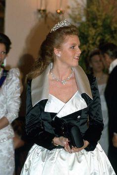 1987 - Sarah Ferguson, Duchess of York, attending a banquet at Claridges Hotel in honour of King Fahd