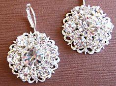 Wedding Earrings Bridal Jewelry Silver Crystal by MissJoansBridal, $25.00
