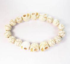 Beautiful Turquoise  White Skull White Ball Beads Stretch Bracelet