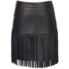 Scoop Leather Fringe Skirt ($398) ❤ liked on Polyvore