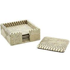 Barware - Bone Python Coaster Set With Holder – Set Of 4