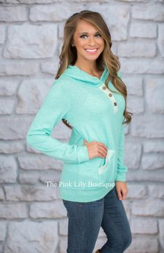 Mint Weekend Hoodie CLEARANCE - The Pink Lily Boutique