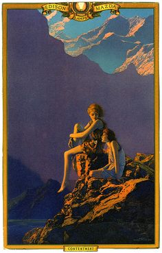 Contentment by Maxfield Parrish for an Edison Mazda calendar, 1927 Art And Illustration, Art Nouveau, Maxfield Parrish, Kunst Poster, General Electric, American Artists, Art And Architecture, Mazda, Land Scape