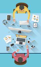Business meeting and brainstorming. Flat design. vector art illustration