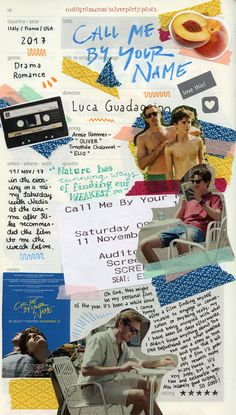 Visual story telling: using a collage of motifs from Call Me By Your Name to tell the story in one piece Movie Collage, Handwritten Text, Timmy T, Young Blood, Aesthetic Movies, Aesthetic Girl, Aesthetic Clothes, Film Books, Your Name
