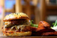 Halloumi burger with balsamic portobello mushroom, grilled red pepper in homemade brioche bun.  FFFx