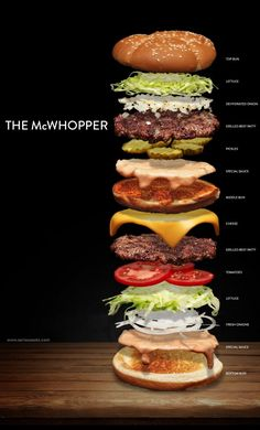 Killed Burger King's McWhopper, so We Made it Ourselves How to build a hybrid Big Mac and Whopper sandwich with fresh ingredients from scratch!How to build a hybrid Big Mac and Whopper sandwich with fresh ingredients from scratch! Burger Menu, Gourmet Burgers, Burger Recipes, Beef Recipes, Soup Recipes, Cooking Recipes, Beef Burgers, Burger Restaurant, Burger Bar