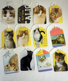 Set of 14 Prestrung-- Gift Tags --  cats and kittens- upcycling. $2.80, via Etsy.