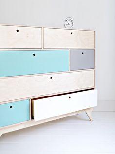 KLOPS. our scandinavian, plywood chest of drawers / bureau. designed by Wood Republic / #interior #design #scandinavian #wood #natural #plywood #colored #fronts #drawers #cabinet #chestofdrawers #bureau #vintage #70s #60s #polish #danish #modern #minimalist #minimal #customized #personalized #stylized #solid #birch #handmade #loft #kids #room #kidsroom #child #children #scandi