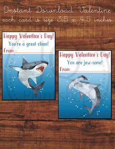 Printable Shark Valentine's Day Card, Kids Class Valentines, Classroom Valentine's Day Cards, Instant Download
