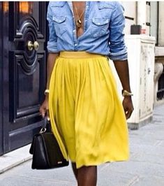 Yellow and denim as styled and profiled by Shala.