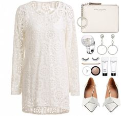 White Style by simona-altobelli featuring tarte ❤ liked on Polyvore Stylish Scoop Neck Long Sleeve Crochet Lace Dress Solid Color Tank…, 29 BAM / Marni gray flat, 870 BAM / Marc Jacobs zip wallet, 110...