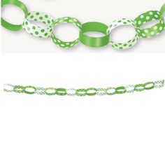 Green Polka Dot Paper Chain Decoration Polka Dot Birthday, Polka Dot Party, Polka Dots, Futuristic Party, Robot Theme, Paper Chains, Birthday Party Themes, Party Supplies, Beaded Bracelets
