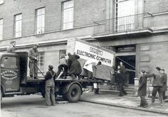 Norwich City council's computer gets delivered, 1957.