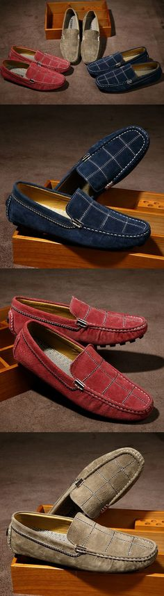 2017 Luxury Men Suede Loafers Slip-on Gentlemen Moccasins Soft Flat Driving Loafers Boat Shoes Letters Red Blue Khaki