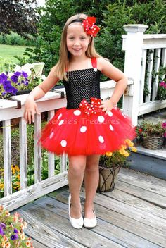 Minnie Mouse Tutu Dress With Matching Bow by KenziesTreasures