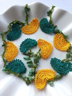 Green, Yellow Handmade - Flowered Long Necklace - Crochet Beaded Necklace w/ Natural Stone - Gifts For Her