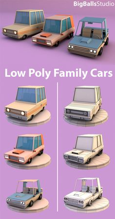 Buy Low Poly family cars by BigBallsStudio on The model was originally created in Cinema Rendering standard. Design 3d, Prop Design, Game Design, Blender 3d, Modelos Low Poly, Modelos 3d, Zbrush, 3d Modellierung, 3d Model Character