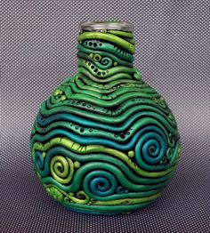 Polymer Clay Bottle Vase Crazy Coils by MandarinMoon on Etsy, $40.00