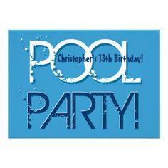 Shop Kid's Birthday Pool Party Blue White Template created by JaclinArt. Personalize it with photos & text or purchase as is! Pool Party Birthday Invitations, Kids Birthday Party Invitations, Birthday Cards, Pool Party Kids, Kid Pool, 12th Birthday, Guy Birthday, Birthday Ideas, Childrens Party