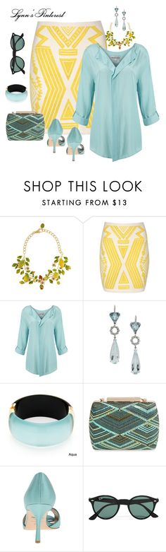 """""""Yellow Aztec Print Skirt 2 - #3852"""" by lynnspinterest ❤ liked on Polyvore featuring Dolce&Gabbana, Jane Norman, Mary Portas, Q Jewelry Design, Alexa Starr, La Regale, Badgley Mischka and Ray-Ban"""
