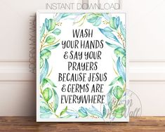 Wash Your Hands And Say Your Prayers, Bathroom Printable, Bathroom Wall Art, Bathroom Print, Bathroom Signs, Bathroom Quote, Bathroom Decor