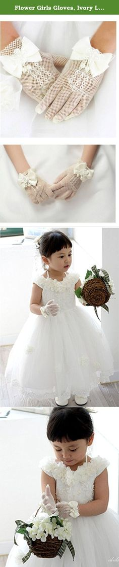 Flower Girls Gloves, Ivory Lace Net Voile Short Princess Bowknot Gloves for Wedding. This flower girls Princess gloves features hot sexy gauze net voile lace, it is the best choice for a wedding dress! •Color: ivory •Length: 6.5inch(Laying flat) •One Size Fits All. Fit for girls 4-13 years old •Material: High Stretchy Gauze Net, Crochet Voile Lace •Durable material for long lasting performance use. Designed in square twill, not easy to hook silk •Style: Full-Finger gloves •With a bowknot…