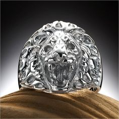 Solid RnB Mens 316L Stainless Steel Roaring Lion Fashion Ring   RnBJewellery
