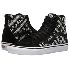 Vans SK8-Hi Reissue ((Fair Isle) Black/True White) Skate Shoes ($65) ❤ liked on Polyvore featuring shoes, sneakers, leather shoes, black leather shoes, black white sneakers, leather sneakers and black shoes
