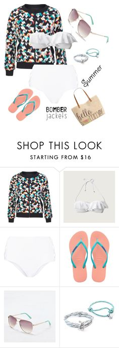 """""""Untitled #46"""" by hailey869 ❤ liked on Polyvore featuring No Fixed Abode, Abercrombie & Fitch, Norma Kamali, Havaianas, American Eagle Outfitters, Anchor & Crew, Style & Co. and bomberjackets"""